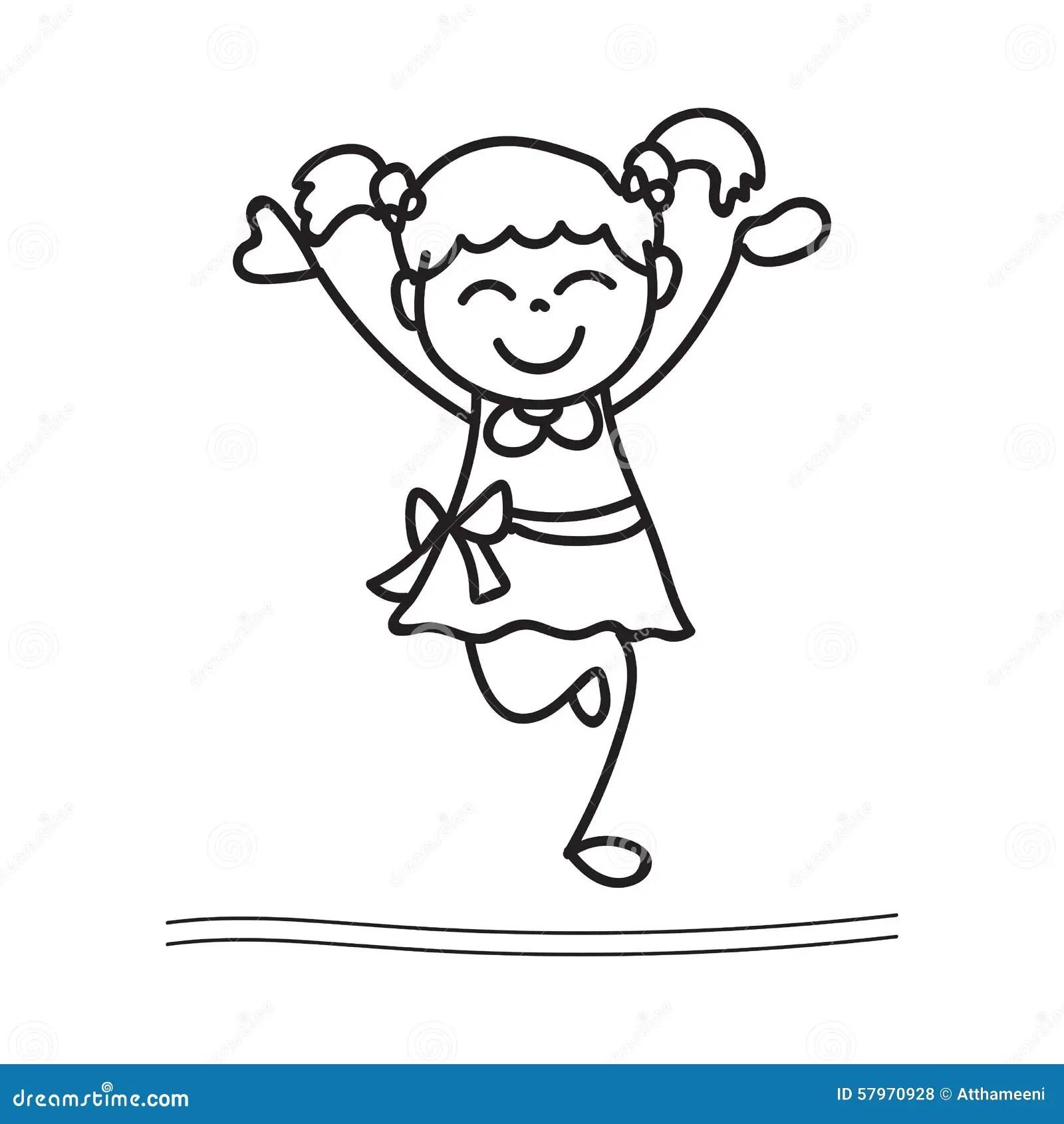 Main Dessinant La Danse Heureuse De Fille Illustration De