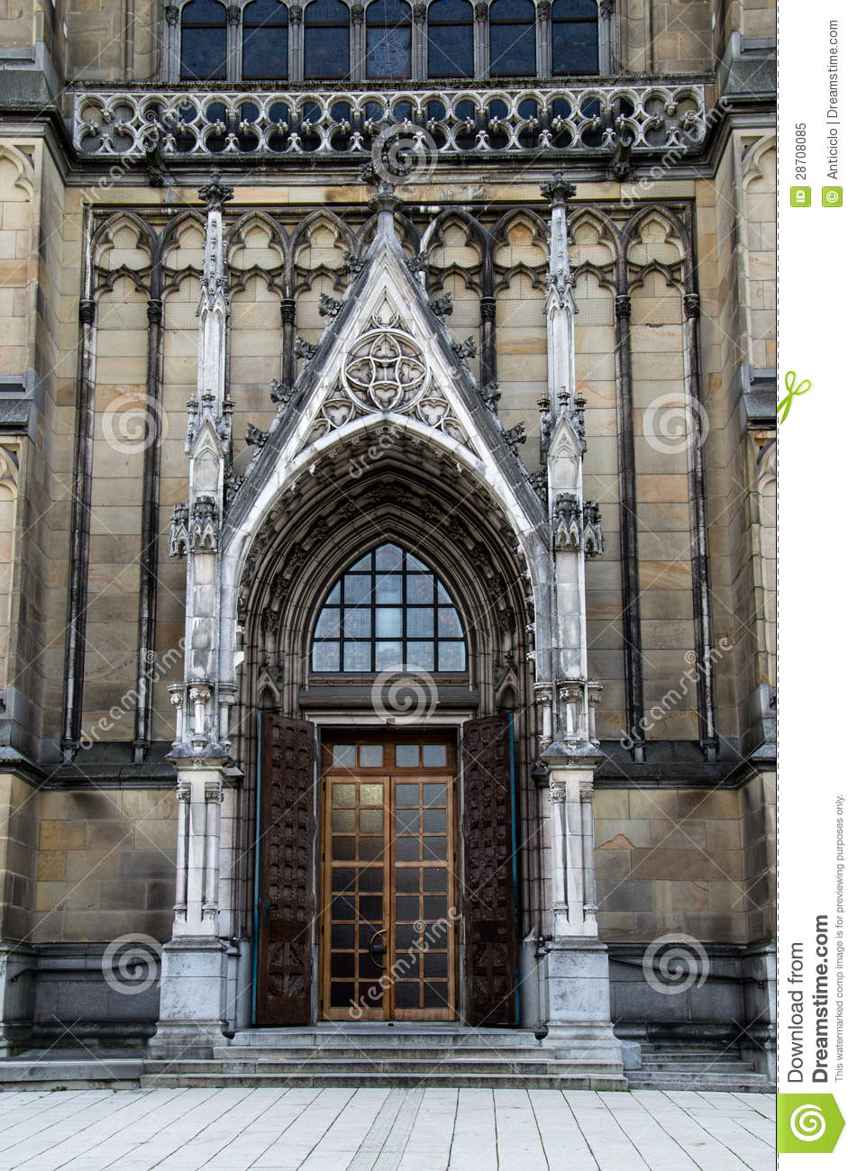 Main Door Of The Neo Gothic New Cathedral Neuer Dom In