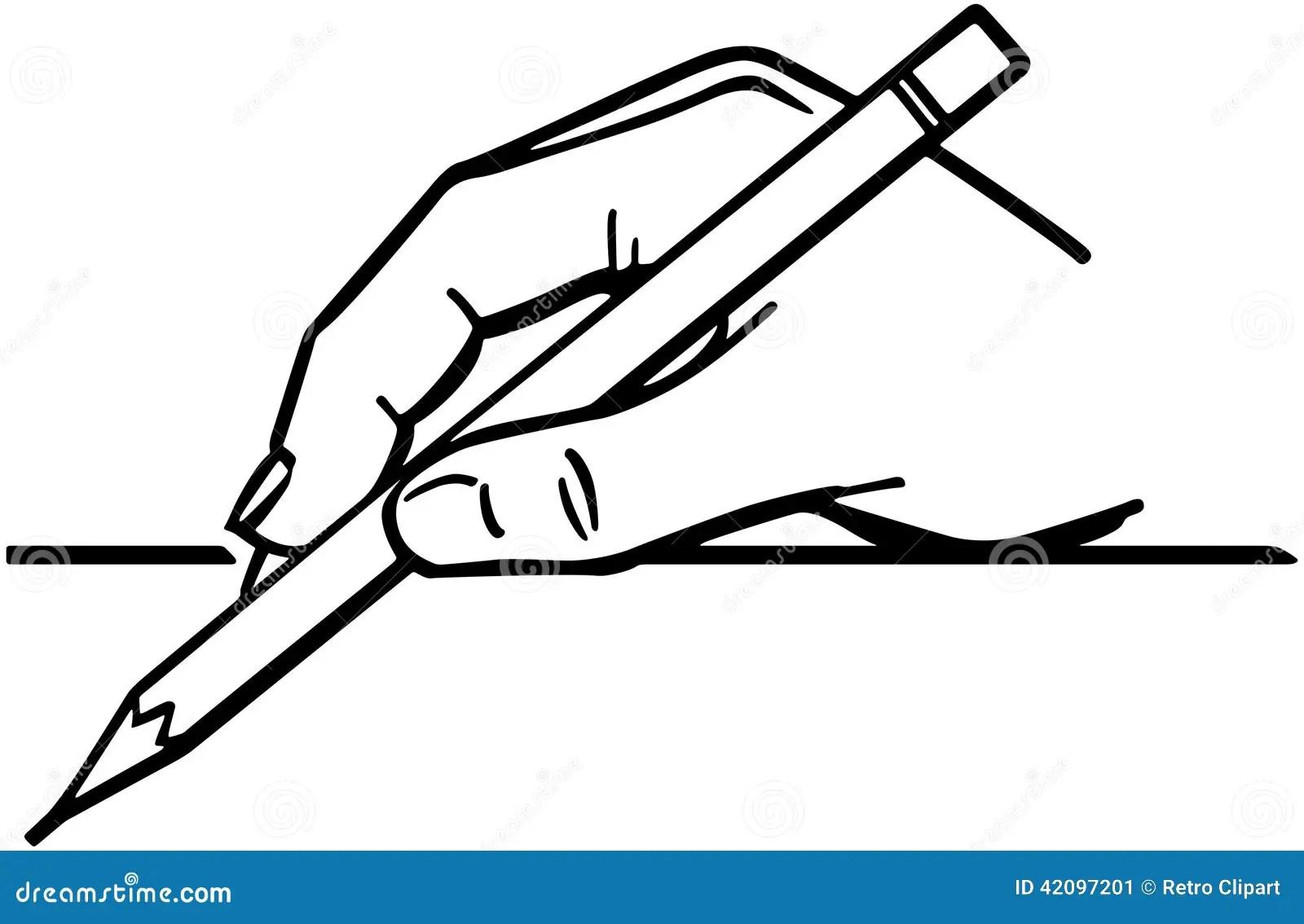 Main Tenant Le Crayon 2 Illustration De Vecteur