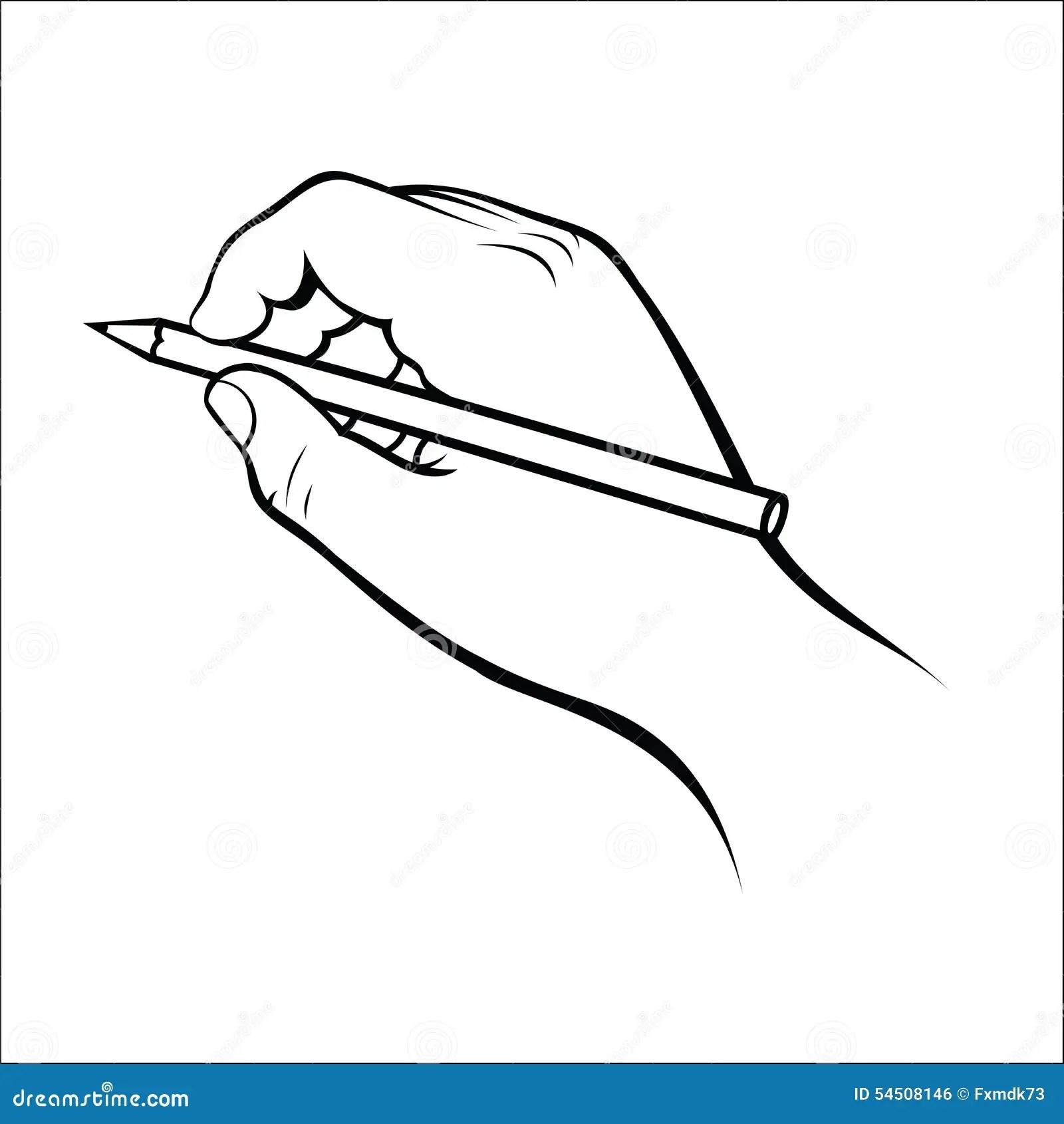 Main Tenant Le Crayon Illustration De Vecteur