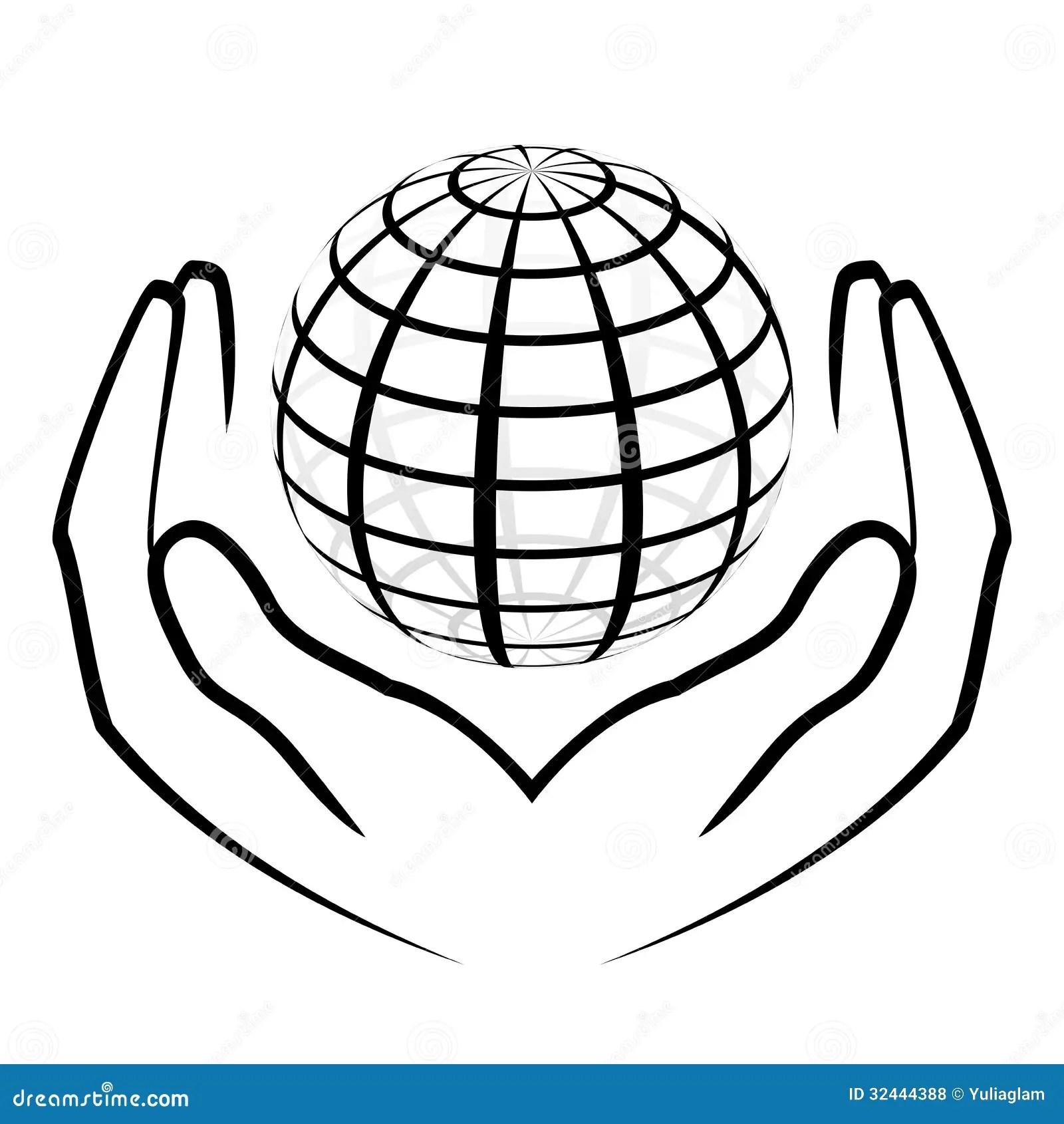 Mains tenant un globe illustration de vecteur