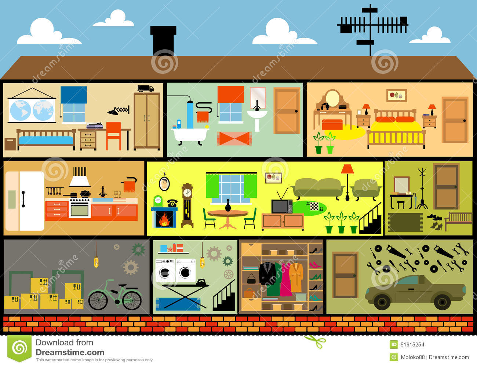 Maison De Famille De Bande Dessinee Illustration De