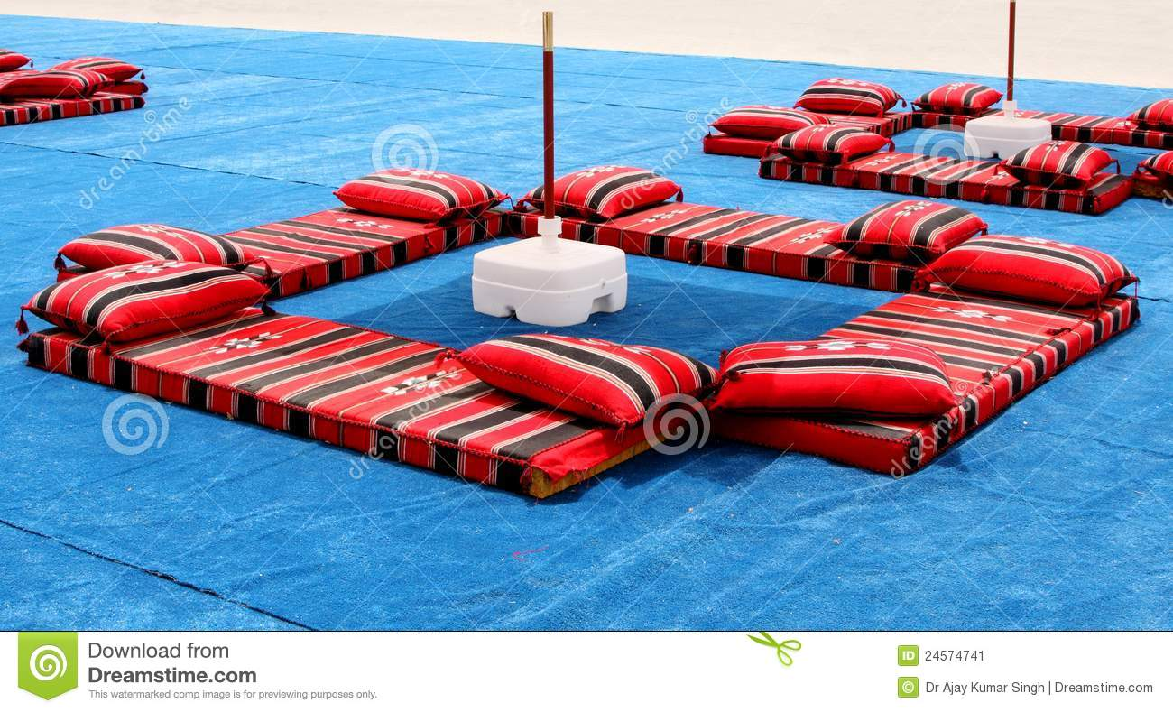Majlis Traditional Colourful Arabian Seating Stock Image