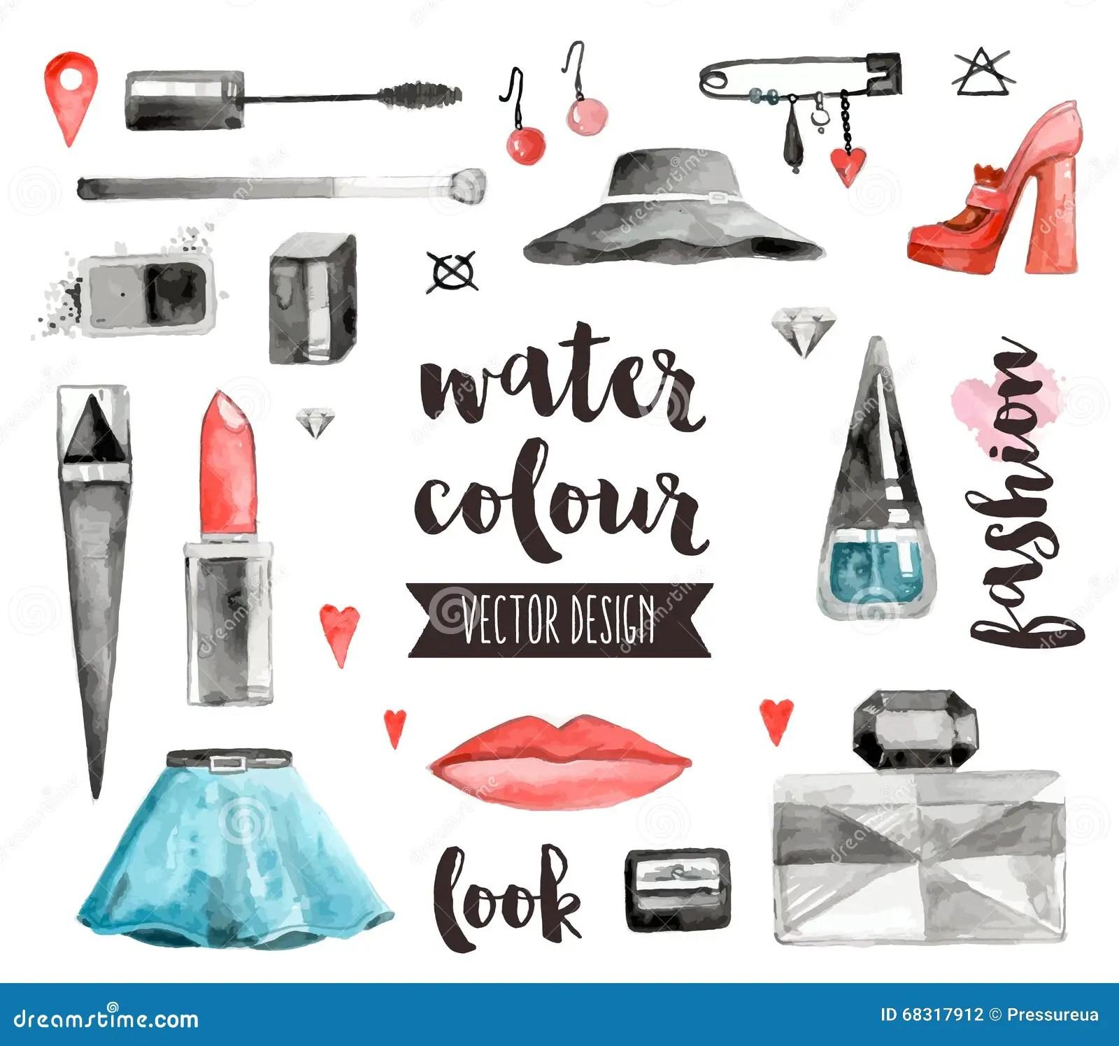 Makeup Accessories Watercolor Vector Objects Stock Vector
