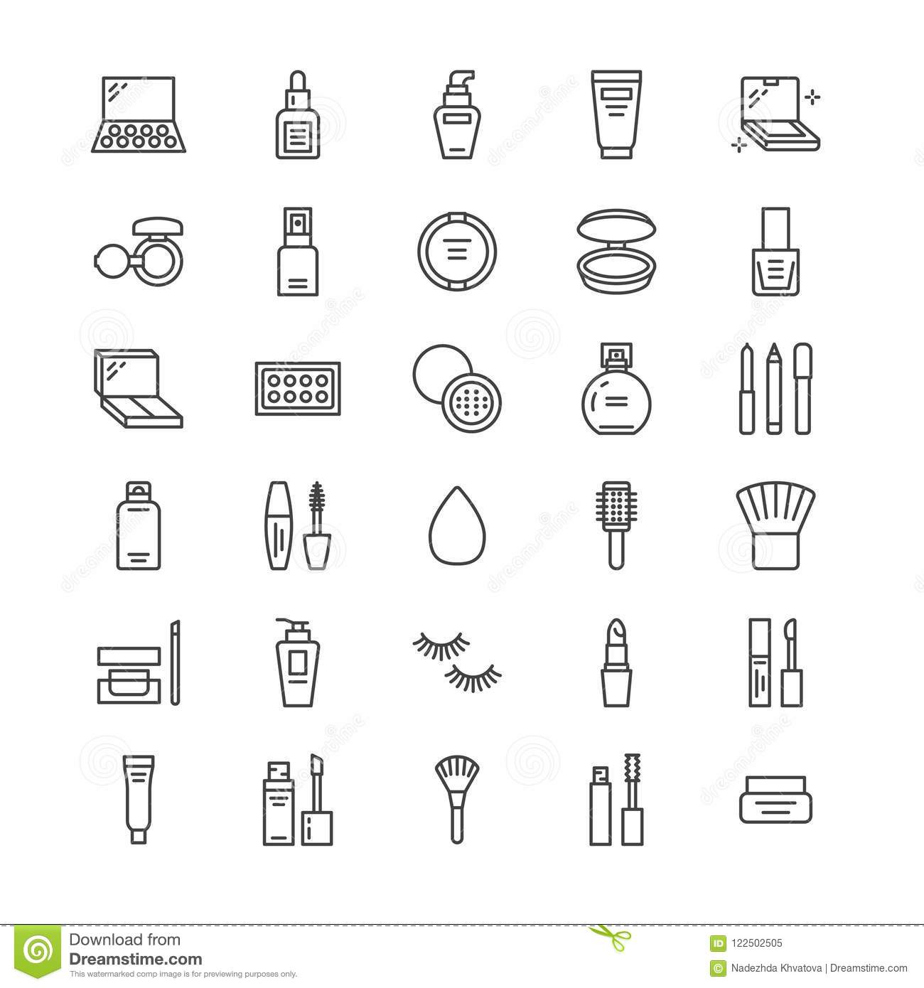 Makeup Beauty Care Flat Line Icons. Cosmetics
