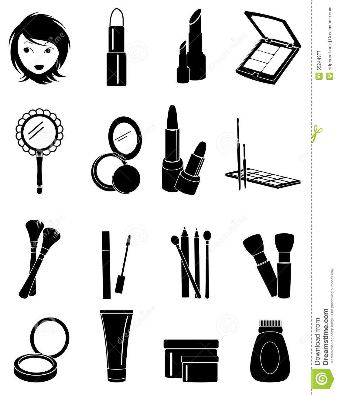 Makeup Icons Set Stock Vector Illustration Of Cosmetic