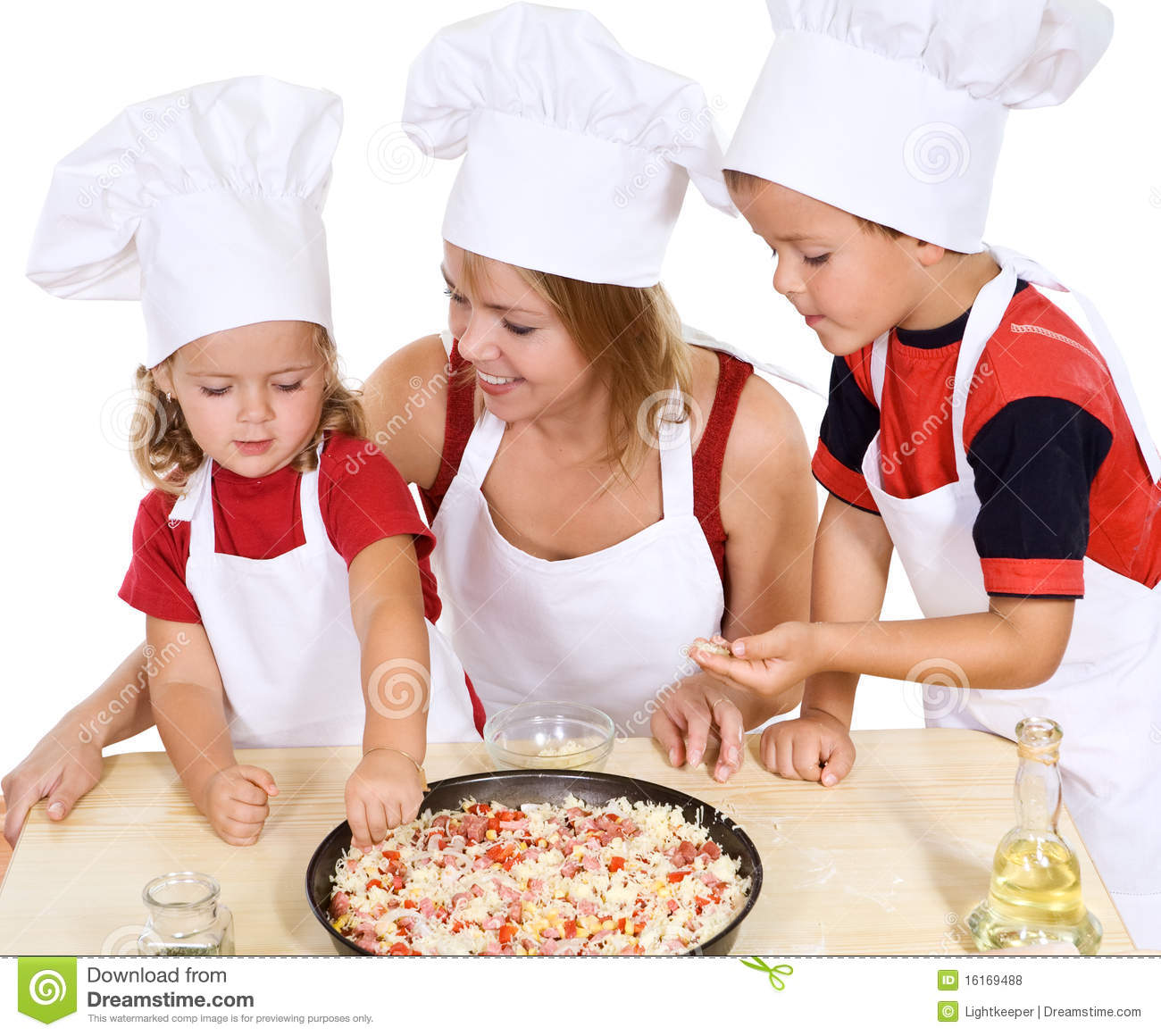 cute kitchen aprons distressed island butcher block making pizza with the kids stock photo. image of make ...