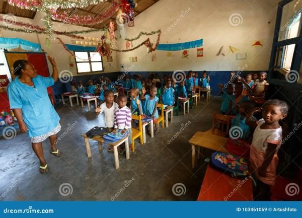 Malagasy School Children In Classroom Madagascar