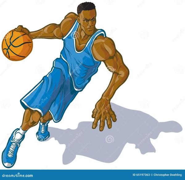 Male Basketball Player Dribbling Ball Vector Illustration Stock - 65197363