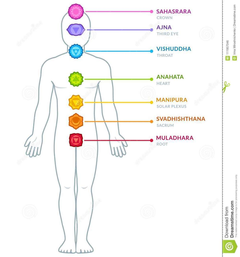 medium resolution of full body male figure with chakras infographics chakra symbols and captions on separate layers isolated vector illustration