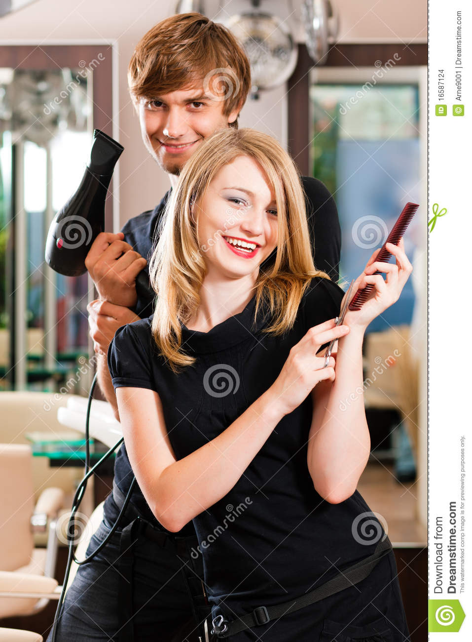 Male And Female Hairdresser Stock Photo  Image 16587124