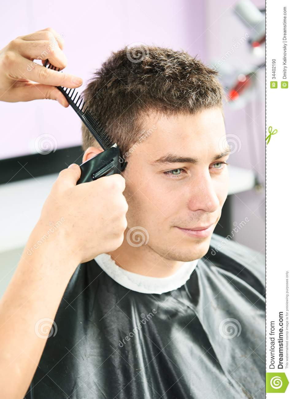 Male hairdresser at work stock photo Image of mirror  34402190