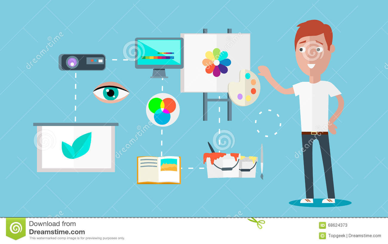 Man Ability To Visualize Concept Stock Vector