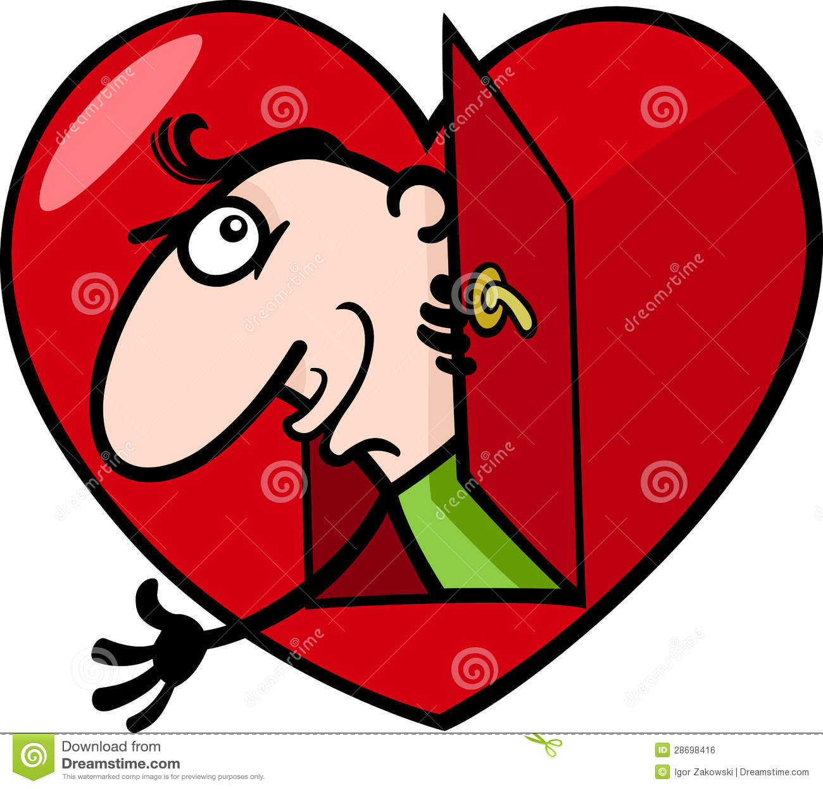 Man In Big Valentine Heart Cartoon Illustration Royalty