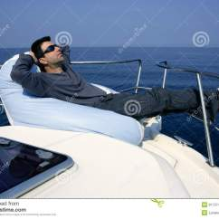 Boat Bean Bag Chairs Chair Rentals Atlanta Man On Bow Relaxed Stock Photo Image Of