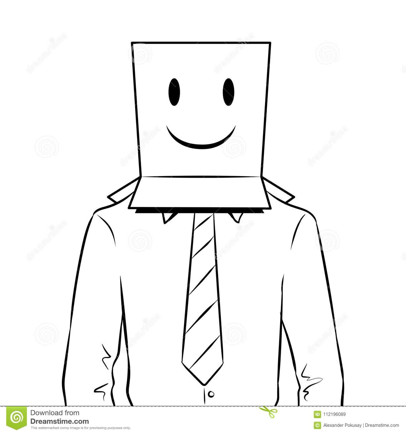 Man With Box Happy Emoji On Head Coloring Vector Stock