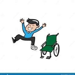 Wheelchair Jump Black High Back Chairs Man Broken Leg Plaster Cast Stock Vector
