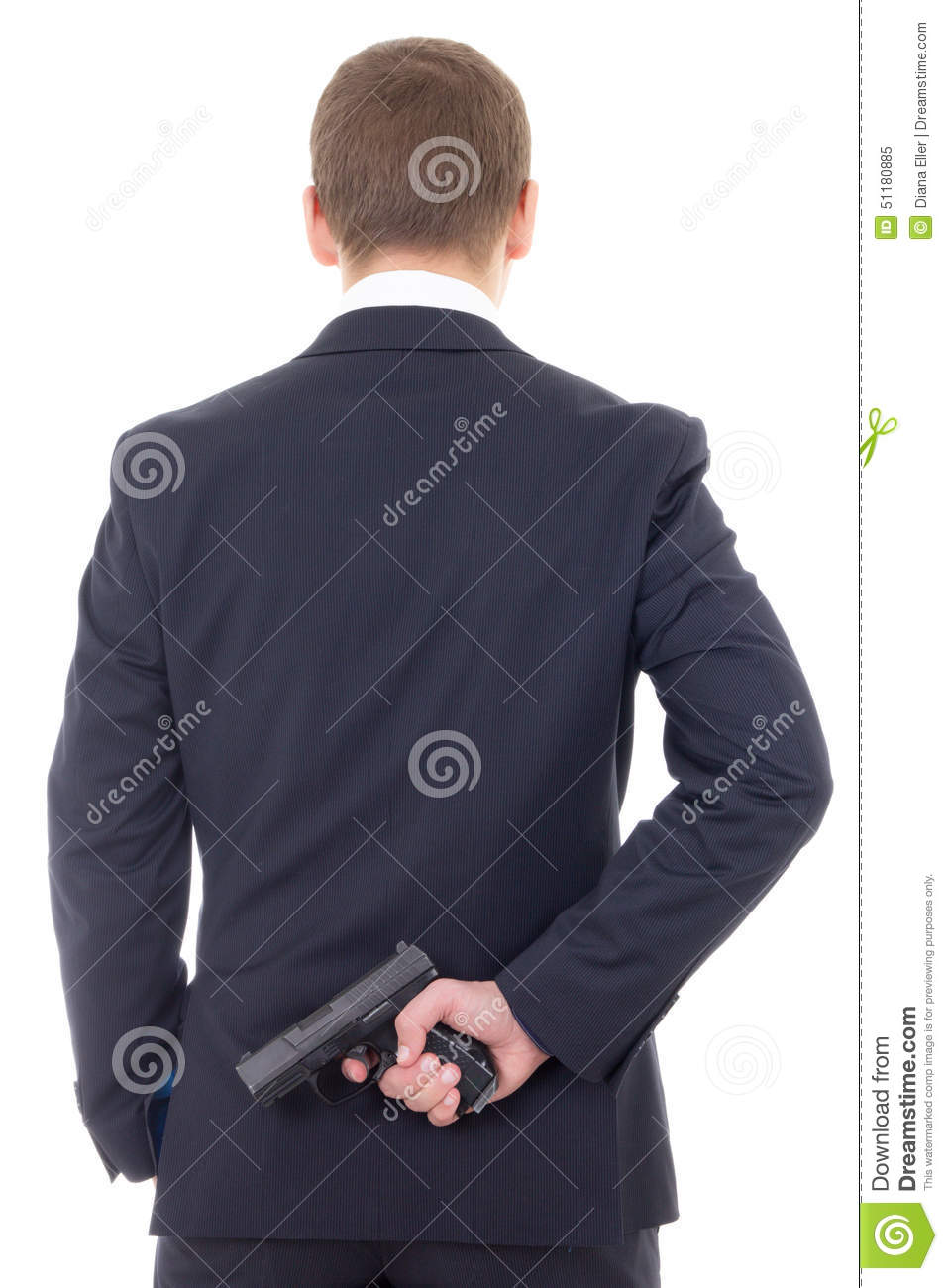 Man In Business Suit Hiding Gun Behind His Back Isolated