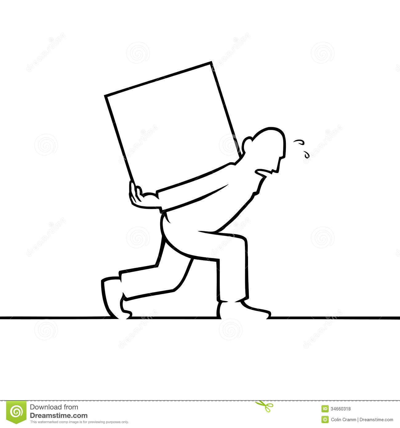 Man Carrying A Heavy Box On His Back Stock Vector