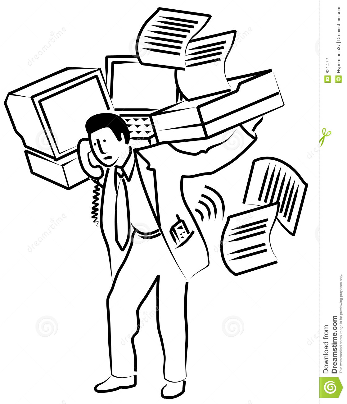 Man Carrying Office Equipment Stock Illustration