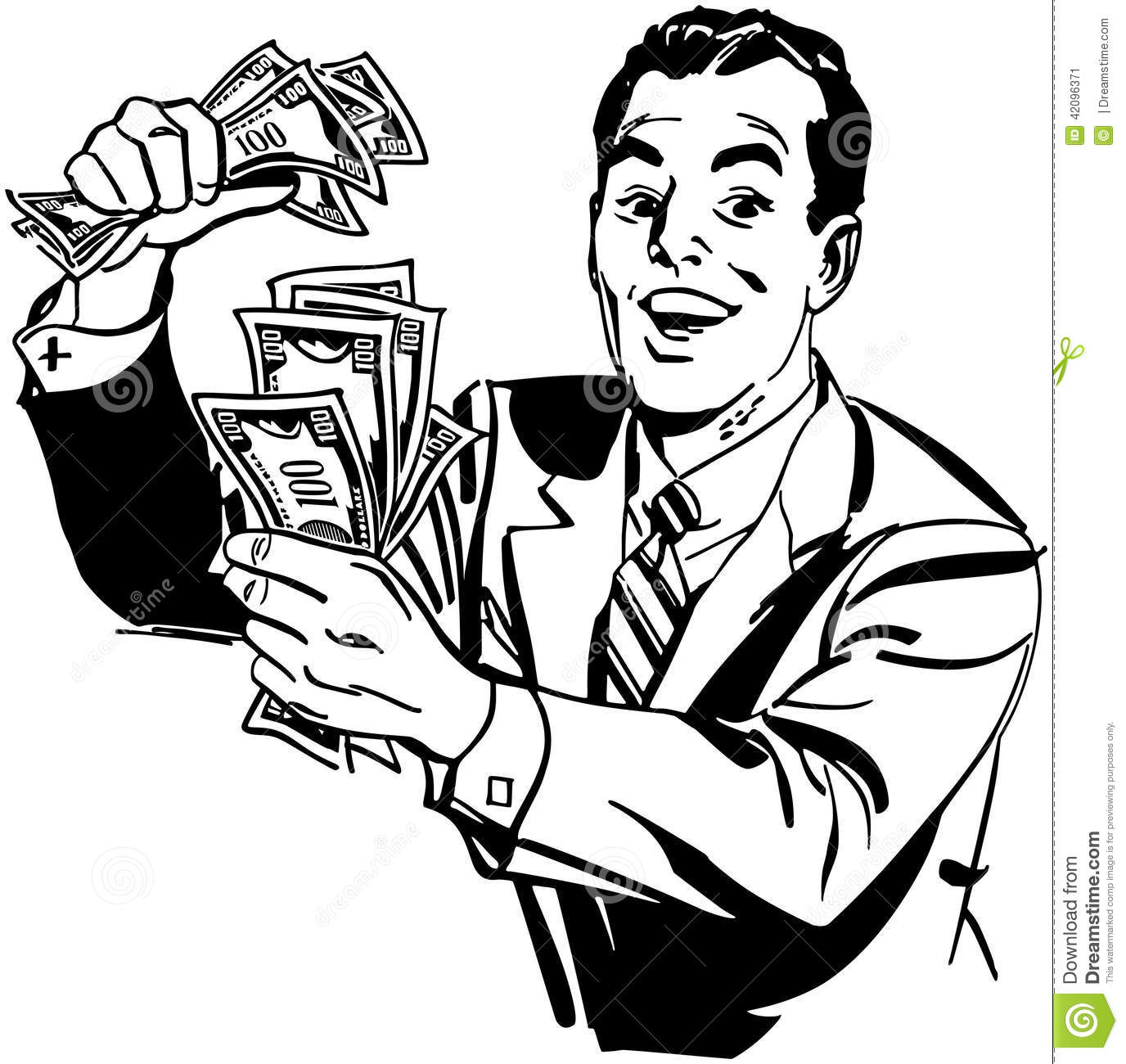 Man With Cash Stock Vector Image Of Joyous Classic