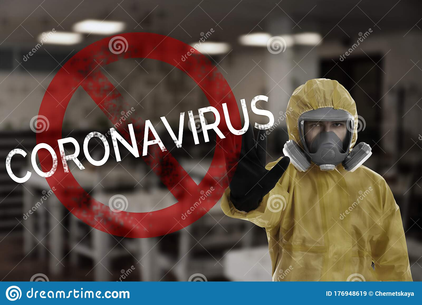 Man In Chemical Protective Suit Showing STOP Gesture. Prevention Of Virus Spread Stock Image - Image of coronavirus. 19ncov: 176948619