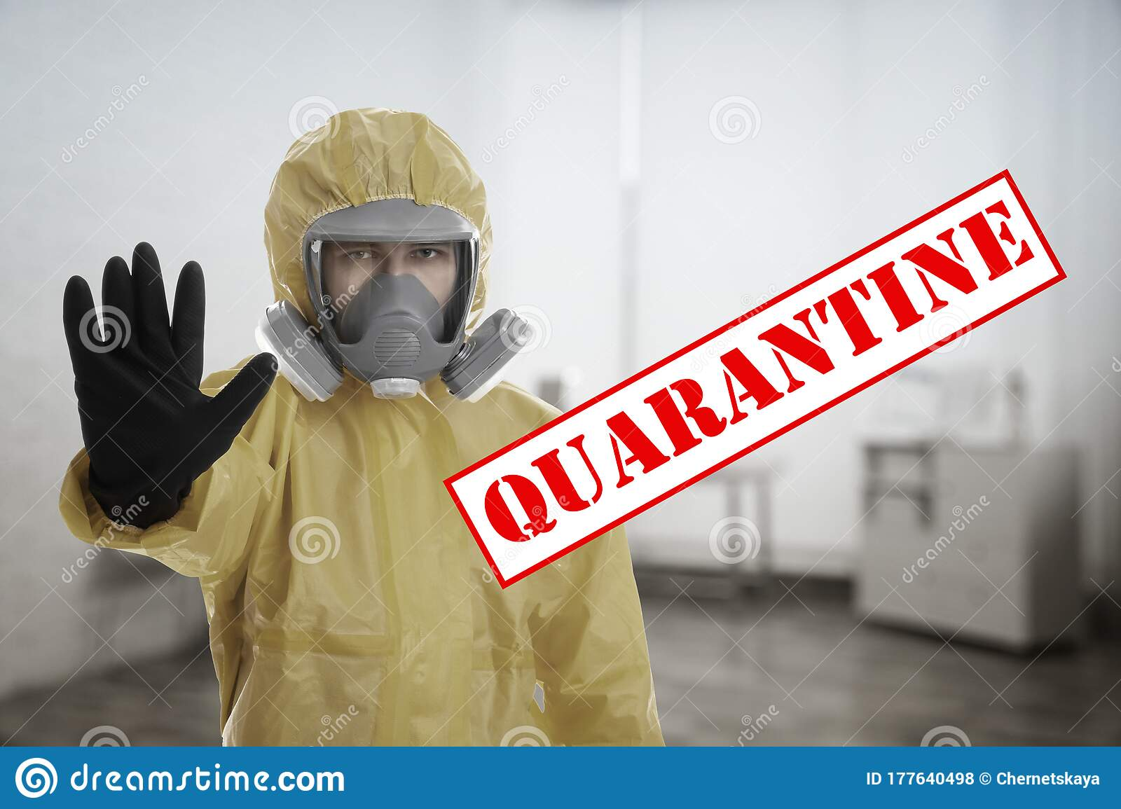 Man In Chemical Protective Suit Showing STOP Gesture. Prevention Of Virus Spread Stock Photo - Image of coronavirus. background: 177640498