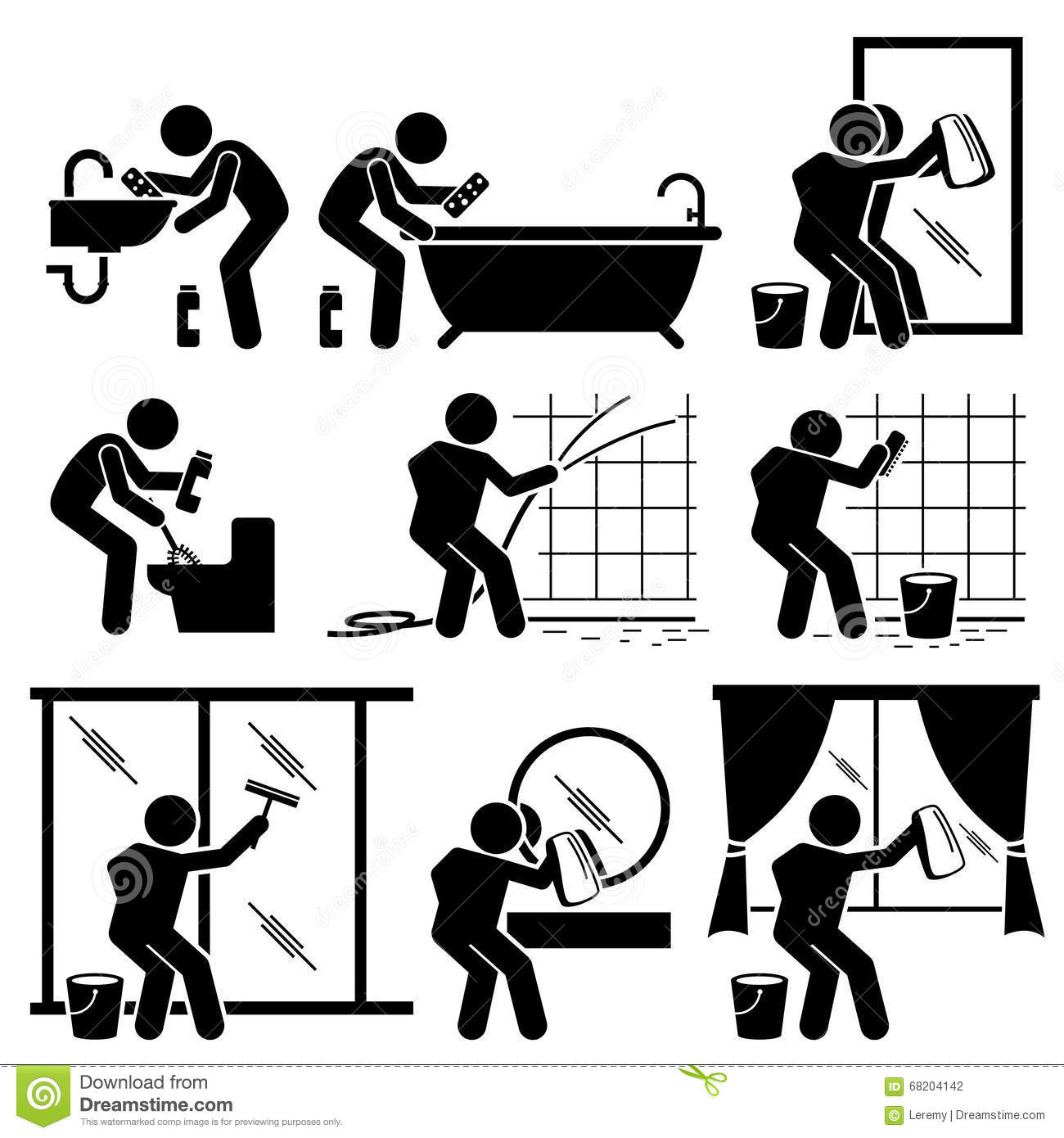 Man Cleaning Bathroom Toilet Windows And Mirror Clipart