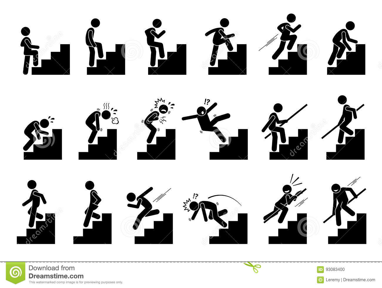 Man Climbing Staircase Or Stairs Pictogram Stock Vector