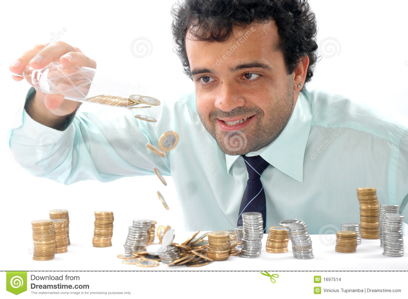 Man Counting Coins Stock Images