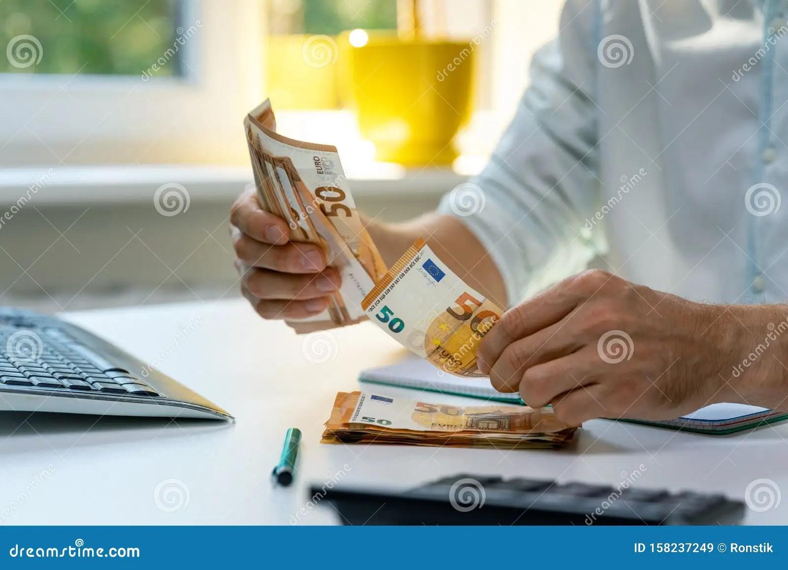 Man Counting Euro Cash Money Bills Stock Image