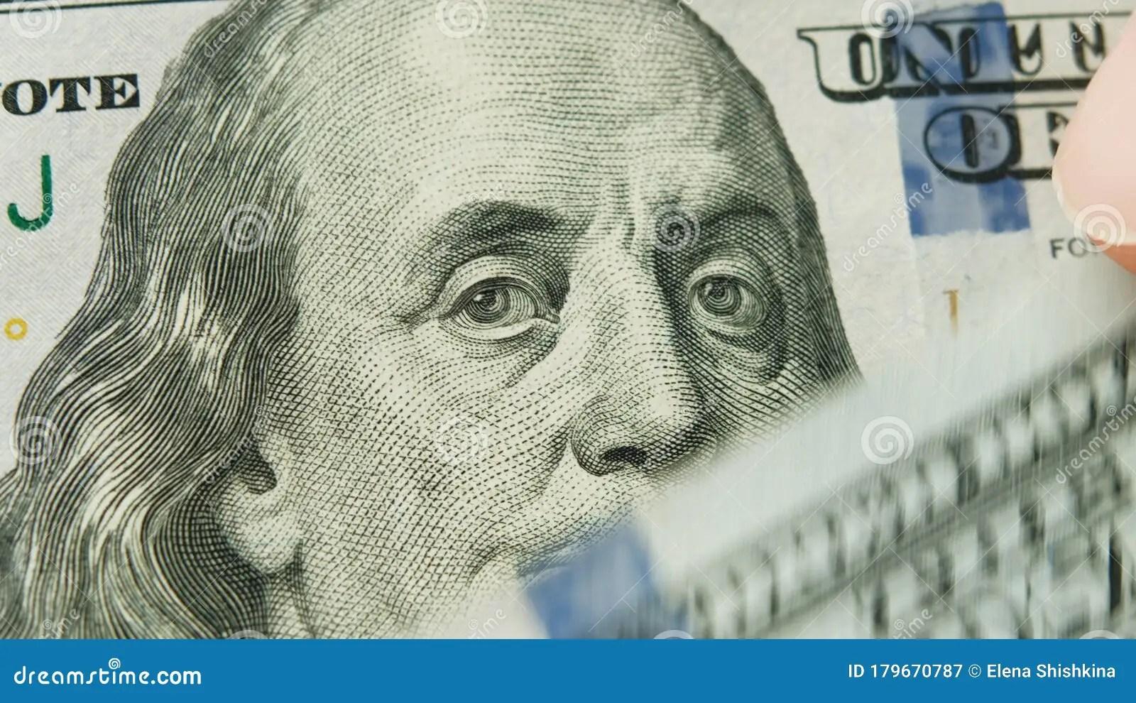 Man Counts Usa 100 Dollar Bills Benjamin Franklin Close Up