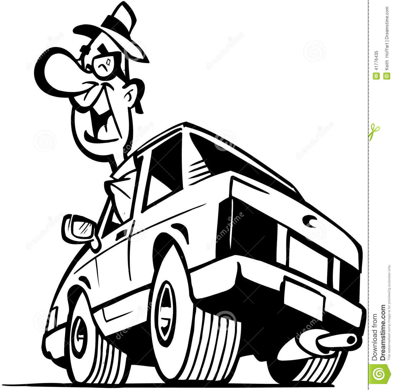 Man Driving Car Cartoon Vector Clipart Stock Vector