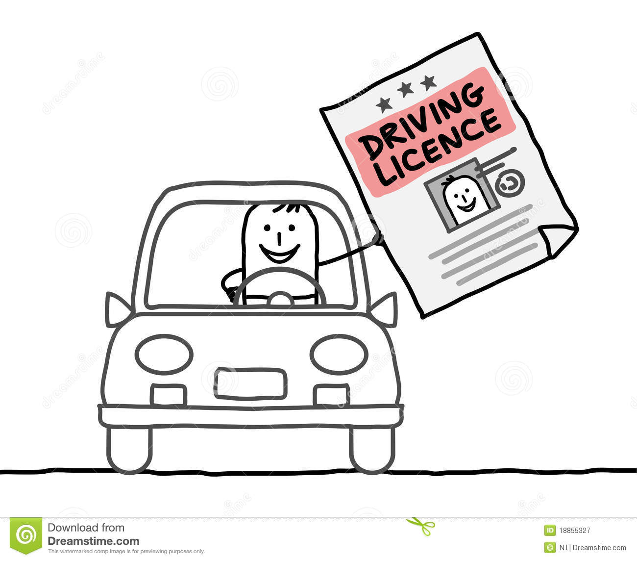 Man & driving licence stock vector. Illustration of