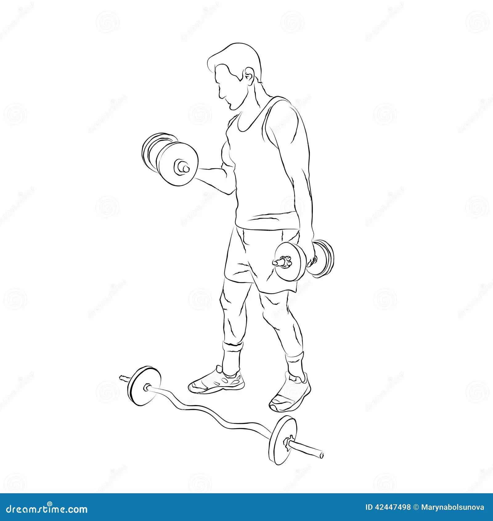 Bodybuilder Raises Muscular Arms Cartoon Vector