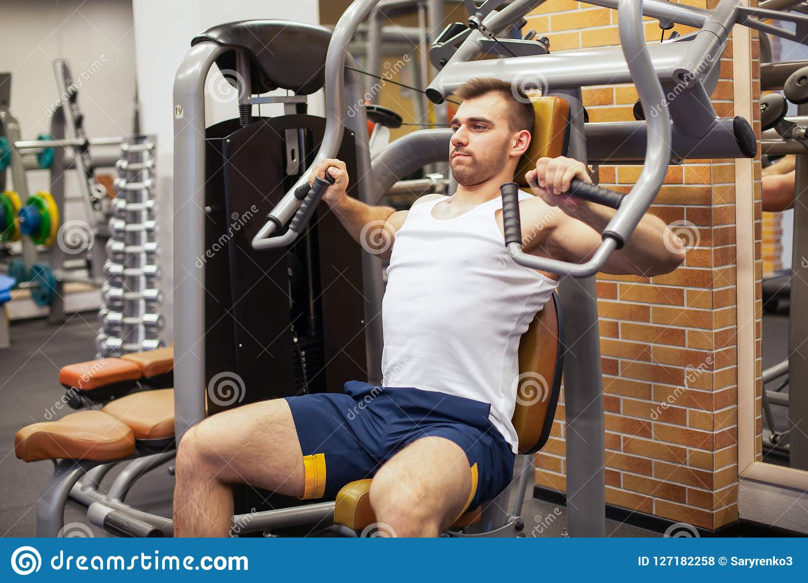 gym chest chair covers for sale ontario man exercising at fitness athlete doing