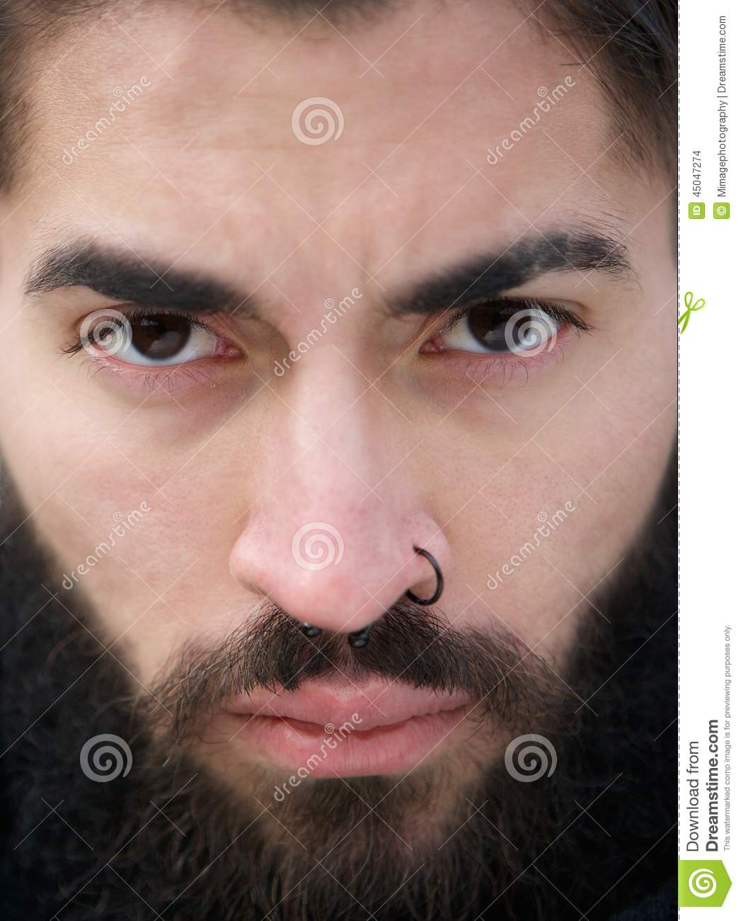 Man Face With Beard And Nose Piercing Stock Photo  Image