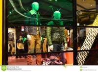 Man Fashion Clothing Shop Window With Mannequins ...