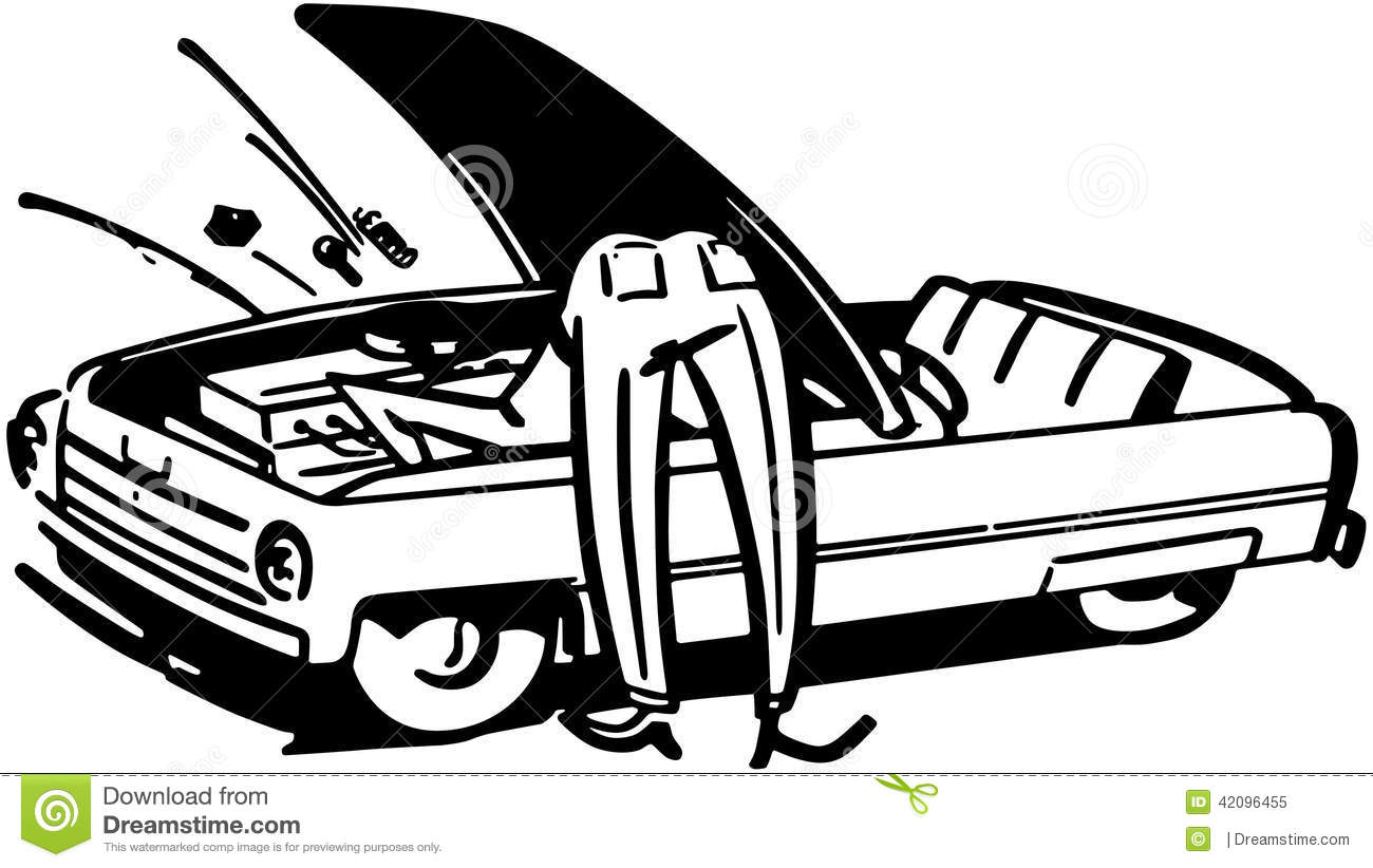 Man Fixing Car Stock Vector
