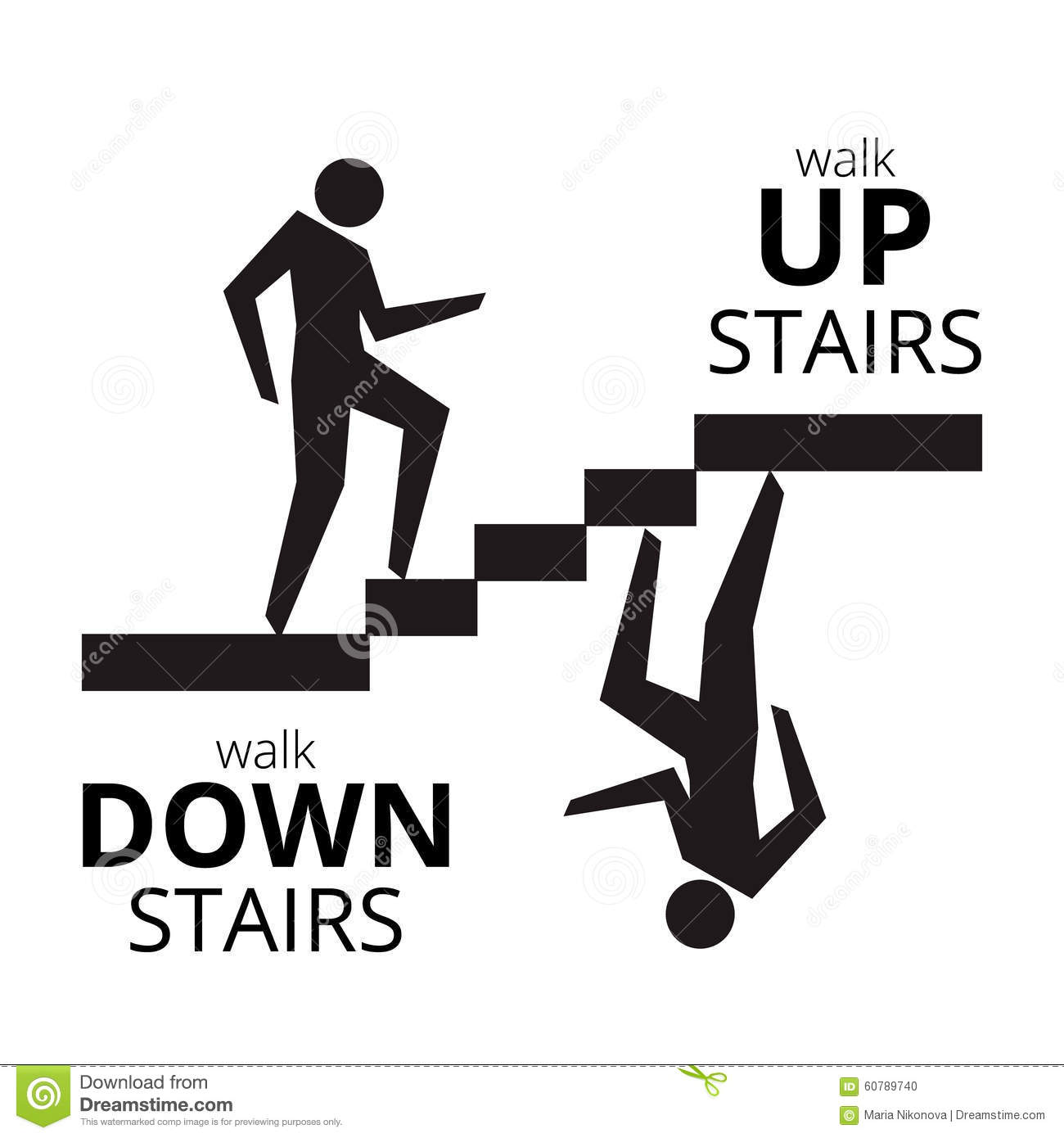 Man Going Up The Stairs Man Going Down Staircase Symbol
