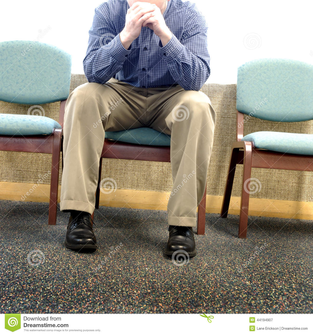 Man In Hospital Waiting Room Stock Image  Image of head