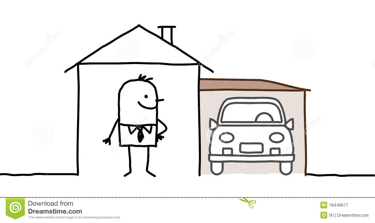 Man Amp House With Garage Stock Vector Illustration Of