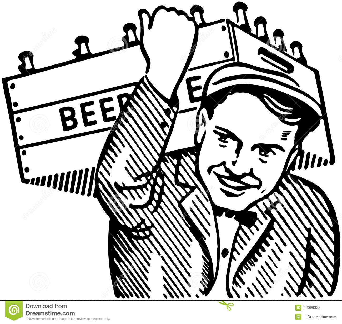 Man With Keg Of Beer Stock Vector