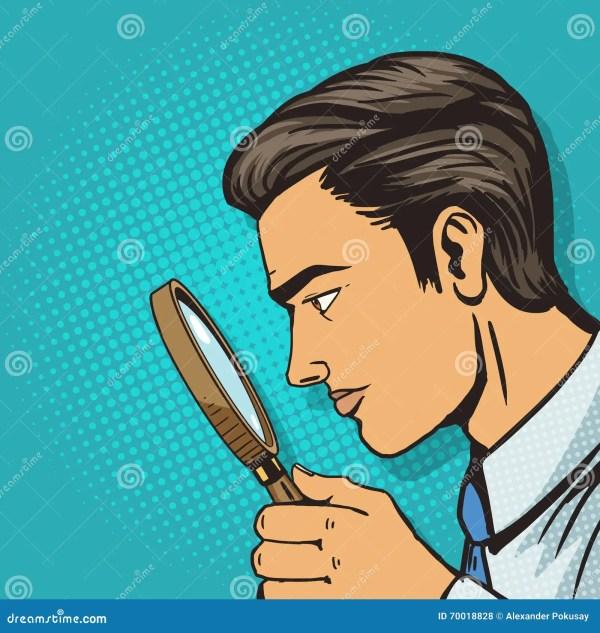 Man Magnifier Pop Art Vector Stock