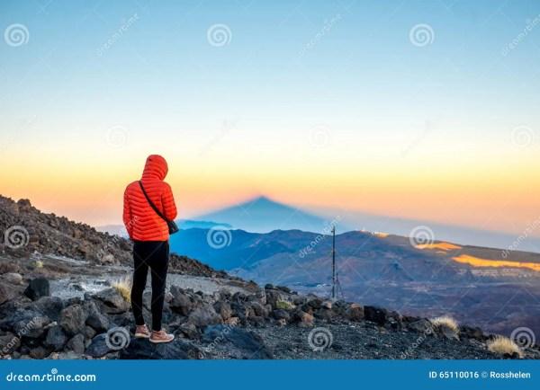 man volcanic landscape