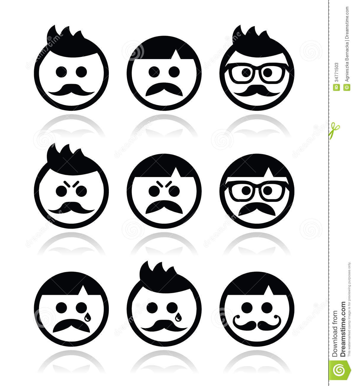 Man With Moustache Or Mustache Avatar Icons Set Stock