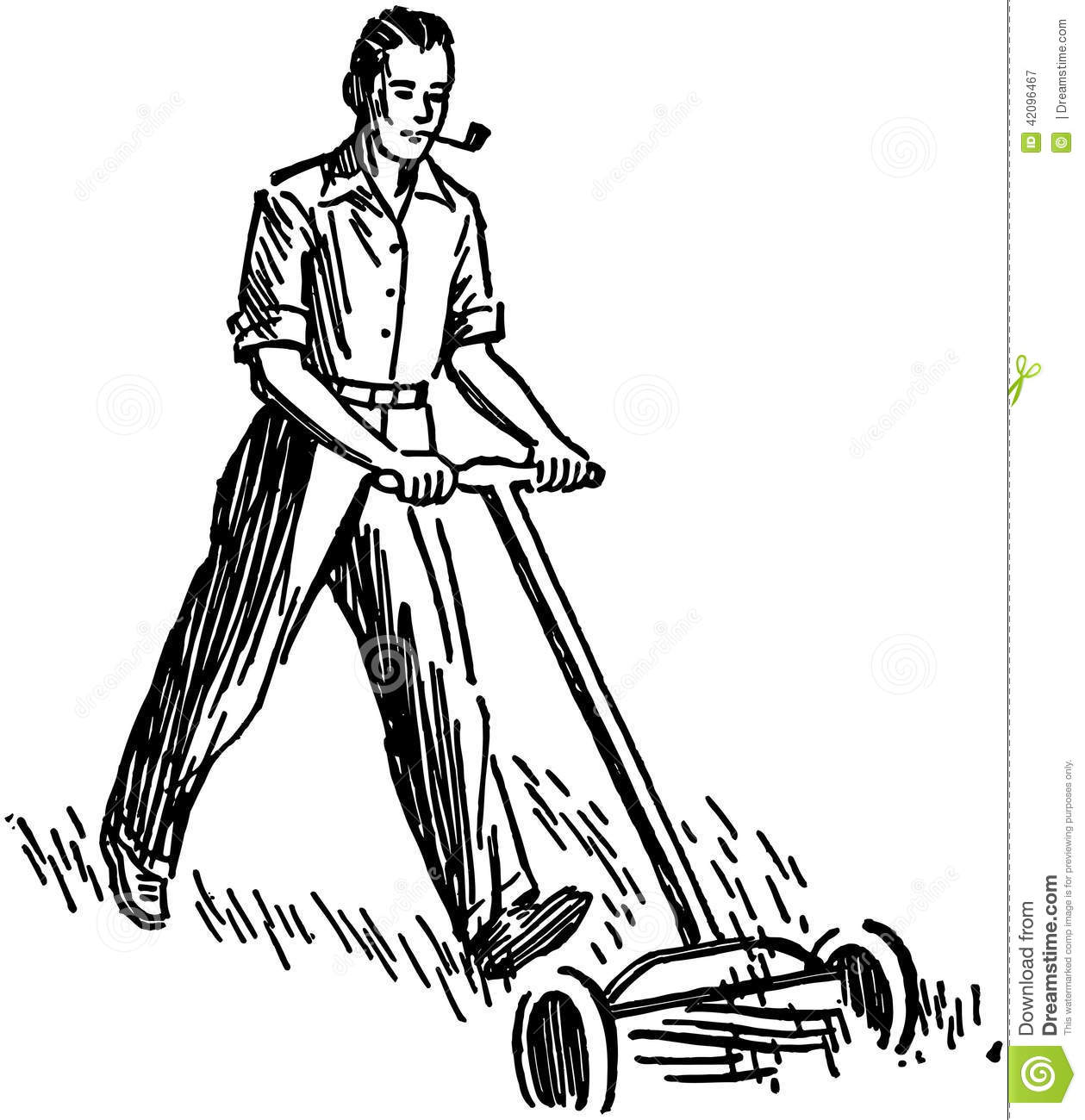 Man Mowing Lawn Stock Vector