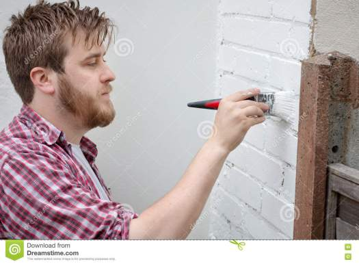 Royalty Free Stock Photo Man Painting House Wall With Brush Diy Home Improvement