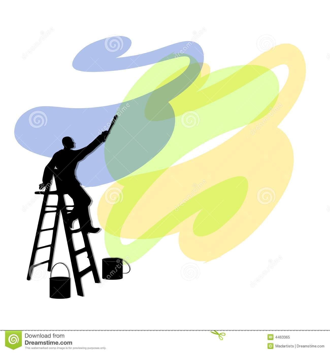 Man Painting Walls On Ladder Stock Illustration