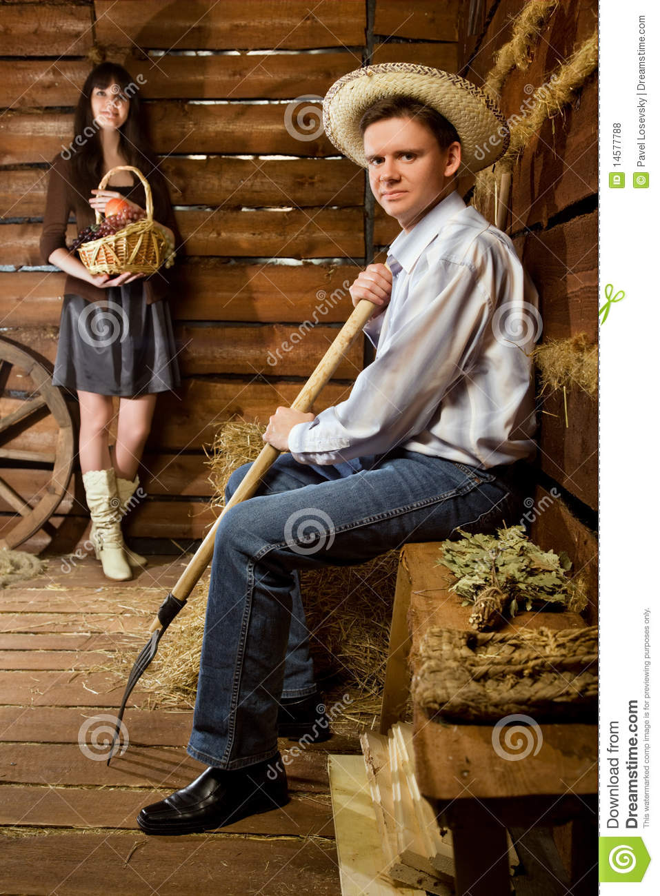 Man With Pitchfork In Straw Hat Woman With Basket Stock Photo - Image of interior. home: 14577788